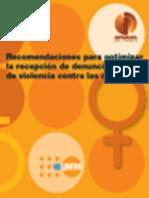 Recomendaciones para optimizar la recepción de denuncias de violencia contra las mujeres