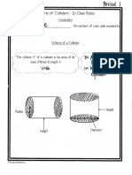 volume of cylinder lesson notes