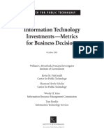 IT Investments Metrics 2001 CPT