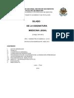 Sillabus Medicina Legal 2016