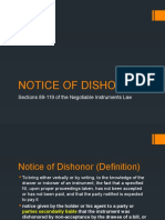 Negotiable instruments- notice of dishonor