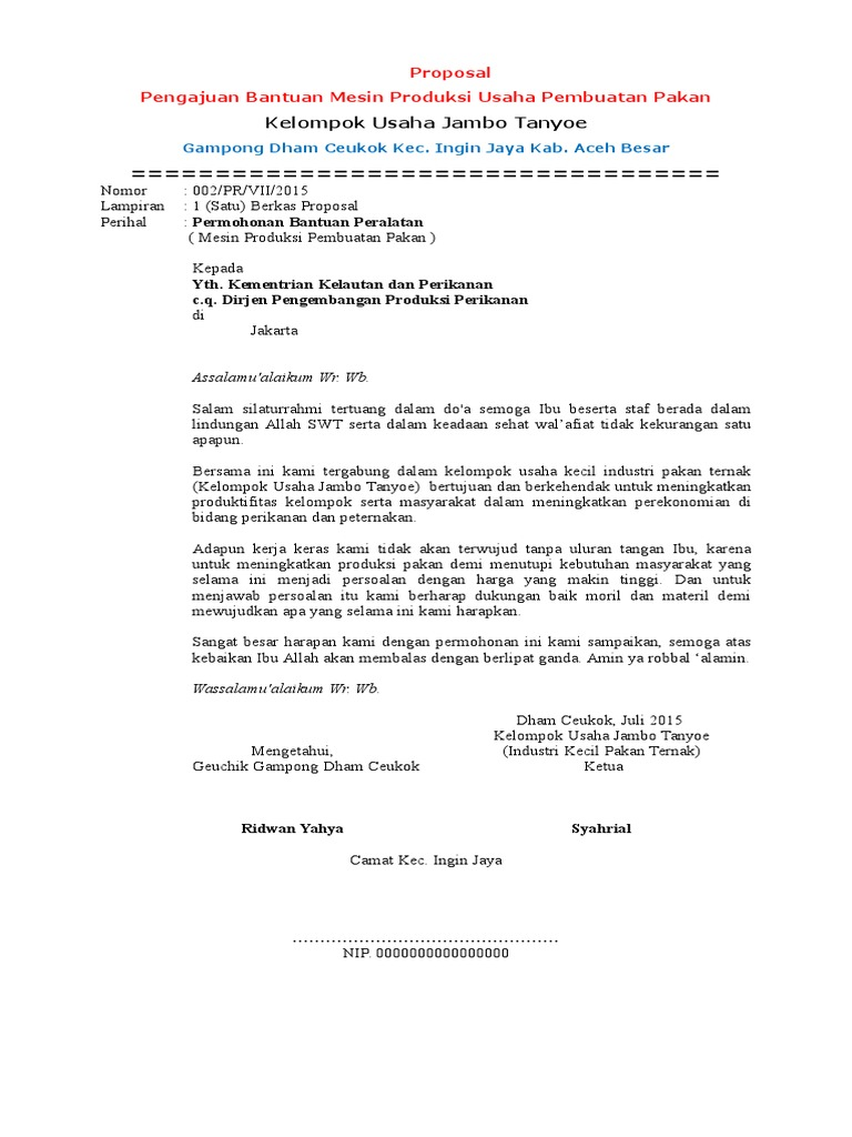 Dokumen Tips Proposal Permohonan Bantuan Mesin Produksi Pakan Ikan