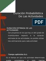 Duración Probabilística de Las Actividades