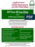 6th Annual Creative Writing Challenge! Flyer 2016