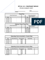 Pricing and Cost Sheets