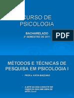 Métodos e Técnicas de Pesquisa Em Psicologia