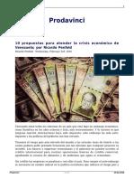 10 Propuesta Para Atender La Crisis Economica de Venezuela Por Ricardo Penfold