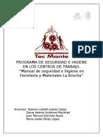 Manual de Seguridad e Higiene en Ferretería y Materiales La Brocha