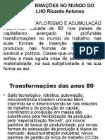 Transformações No Mundo Do Trabalho Ricardo Antunes