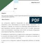 """Practica No 8 """" DERIVADOS HALOGENADOS"""""""