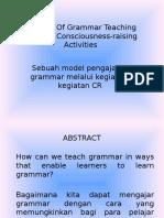 A Model of Grammar Teaching Through Consciousness-raising Activities
