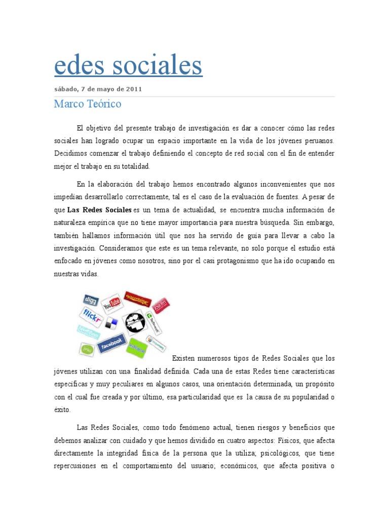 Marco Teorico. Redes Sociales