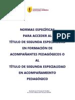 Normas Específicas Para Acceder Al Título de Seg. Especialidad en Formación de Acomp. Pedag. o Al Título de Seg. Especialildad 2015 (2)
