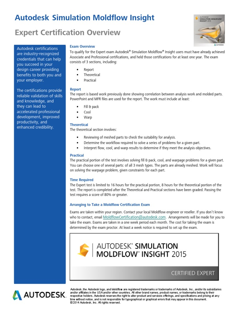 Autodesk Moldflow Expert Certification Overview Professional