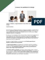 10 Señales Para Reconocer Un Ambiente de Trabajo Positivo