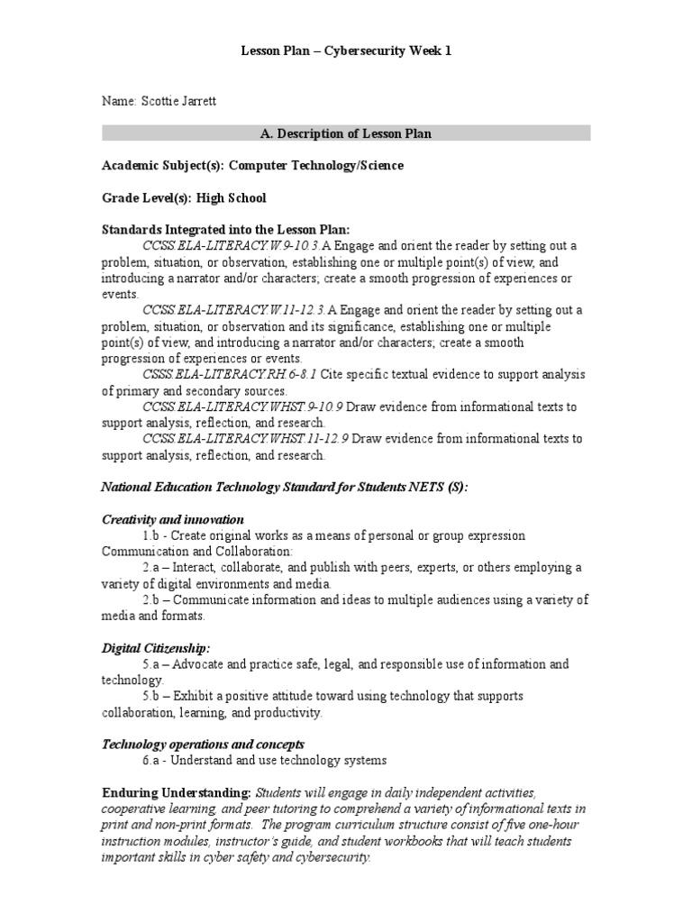 Jarrett Lesson Plan Assignment 3 Educational Assessment Lesson Plan