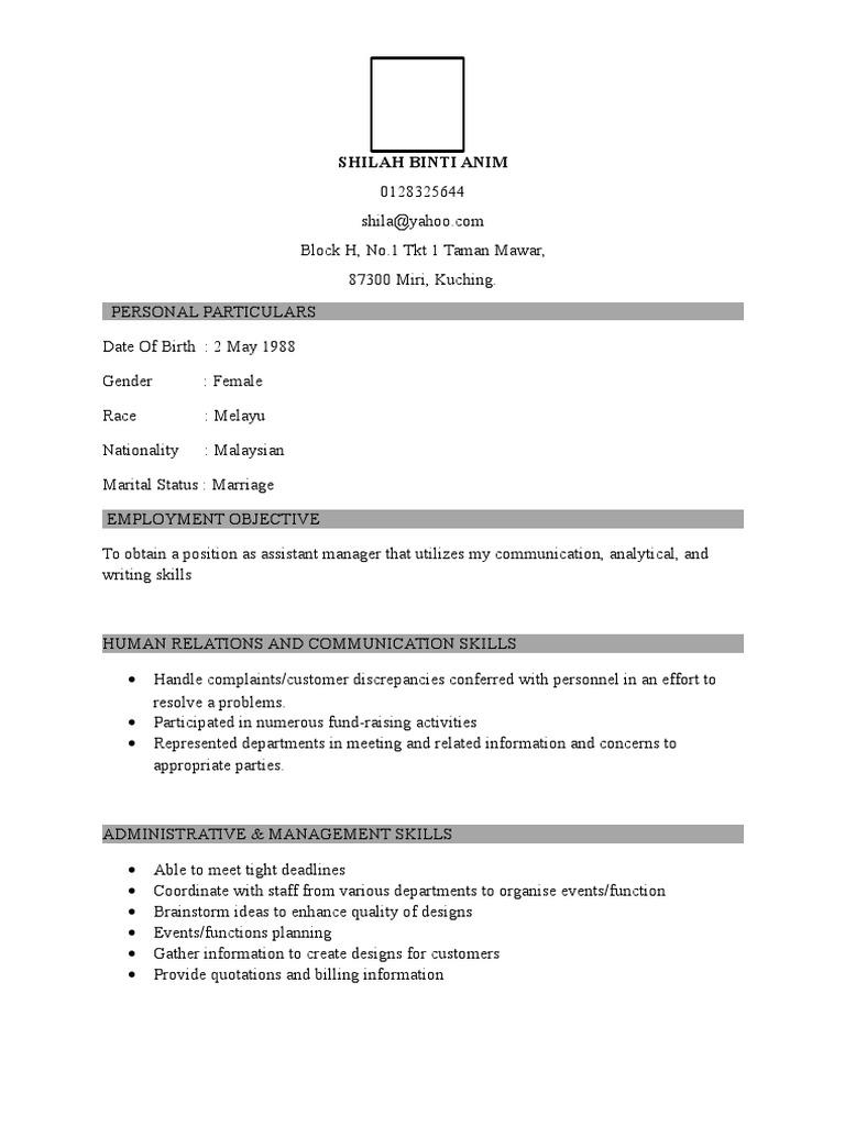 Contoh Resume Dan Cv Employment Communication