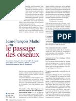 Jean-François Mathé ou le passage des oiseaux