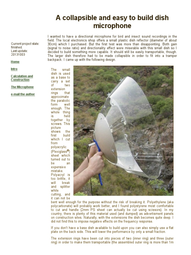 DIY Collapsible Parabolic Dish Microphone | Microphone | Waves