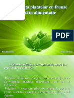 Importanta Plantelor Cu Frunze Verzi in Alimentatia Zilnica
