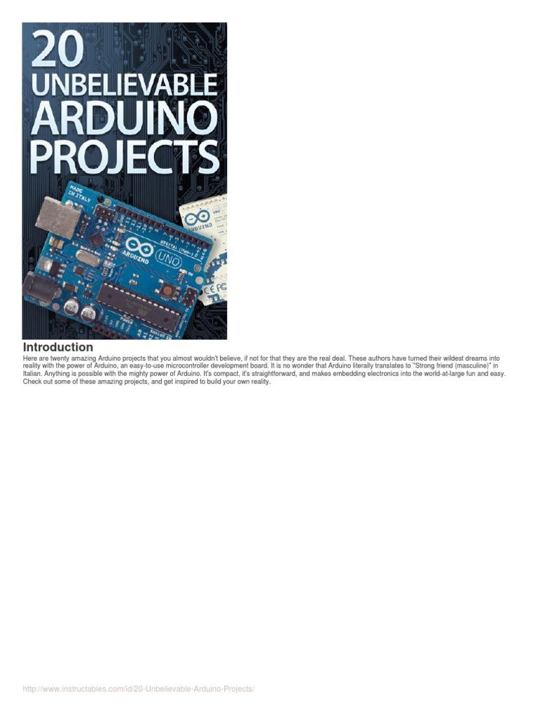 20 Unbelievable Arduino Projectspdf Electrical Connector Kit K Compatible Microcontroller Atmega328p Breadboard Us Ebay Computer Hardware