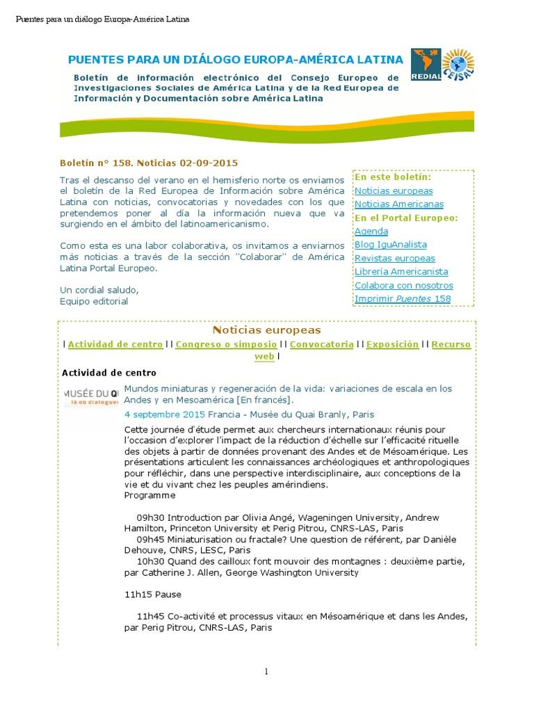 Puentes Para Un Diálogo Europa América Latina Boletín N 158 2 De