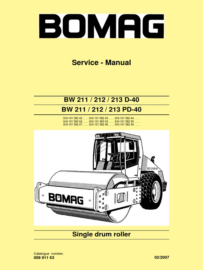service manuel bw211d 40 electrical connector screw rh scribd com bomag 80 roller manual bomag trench roller manual