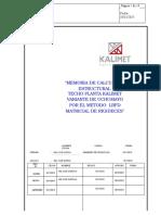 Memoria de Calculo de Techo Kalimet Grupo Kala Rev 09