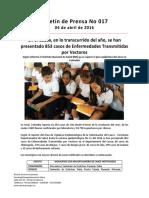 Boletín 017 en El Cauca, En Lo Transcurrido Del Año, Se Han Presentado 853 Casos de Enfermedades Transmitidas Por Vectores