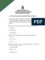 1ª Lista Avaliativa -Calculo II