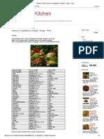 Student's Kitchen_ Names of Vegetables in Englsih -Telugu - Hindi