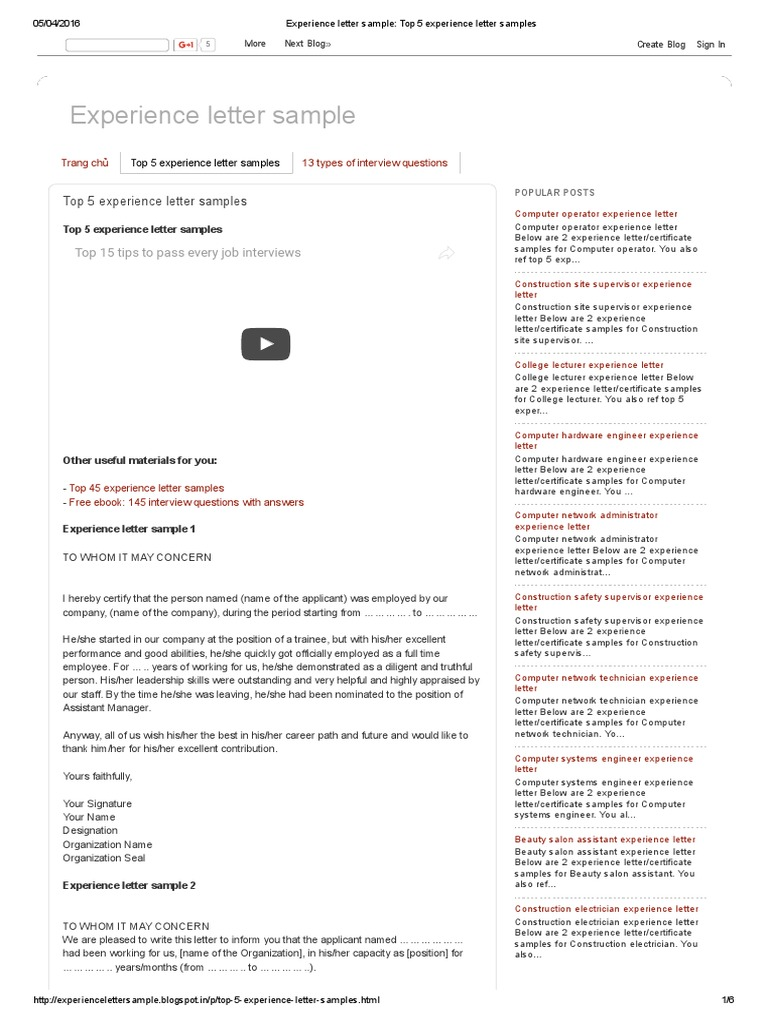 experience letter sample_ top 5 experience letter samples employment labour