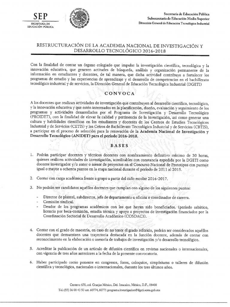 Convocatoria restructuraci n anidet 2016 2018 for Convocatoria docente 2016