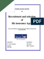 Summer Training Report on recruitment of advisors for bharti axa life insurance