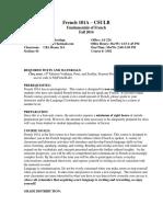 Syllabus Fundamentals of French 101A