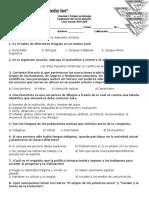 Español Examen primer grado Bloque 3