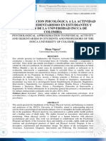 Una Proximacion Psicológica a La Actividad Física y El Sedentarismo en Estudiantes y Docentes de La Universidad Incca de Colombia