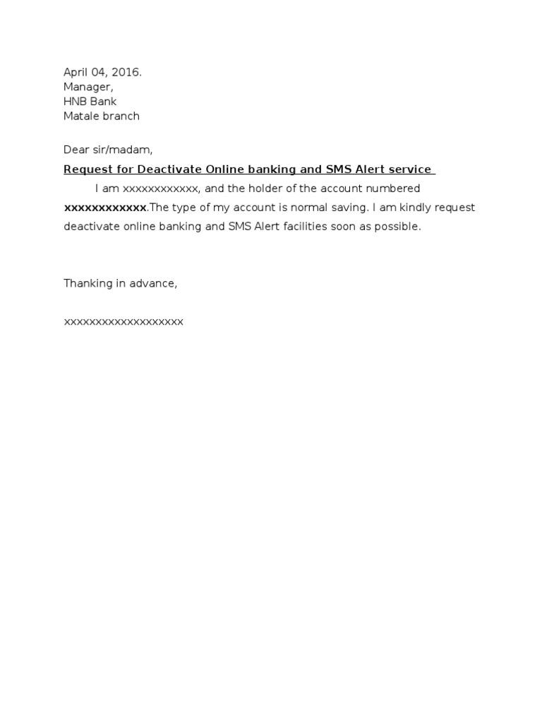 Request letter for deactivate some banck facilities spiritdancerdesigns Images