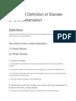 Kinds and Definition of Slander or Oral Defamation