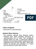 Moderate head injury + SDH at the right temporo parietal ZULFIKAR