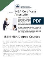 ISBM MBA Certificate Attestation