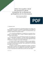 Aliaga, José Luis (20012-04) - El Análisis Lexicográfico Desde Una Perspectiva Plural. a Propósito de La Información Geolingüística en Los Diccionarios