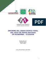 Informe del evento final del EPCP de papas nativas en Riobamba (Ecuador)