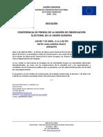 Conferencia de prensa en Arequipa de la Misión de Observación Electoral de la Unión Europea