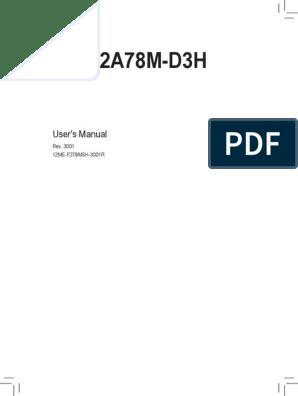 Mb Manual Ga-f2a78m-d3h v 3 0 e | Bios | Hdmi