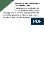 Cores Primárias Secundarias e Terciarias EFI