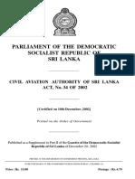 Civil Aviation Authority Sri Lanka Act 34of2002