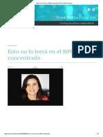 Esto No Lo Leerá en El 80% Concentrado _ Rosa María Palacios