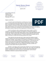 Letter to Sen. Reid on Secret Holds (04/29/2010)