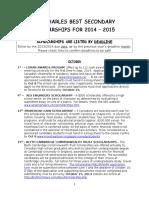 2014 - 2015 New Dr. Charles Best Scholarship List